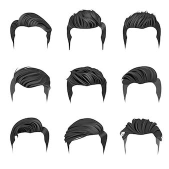 Set of men's hairstyles