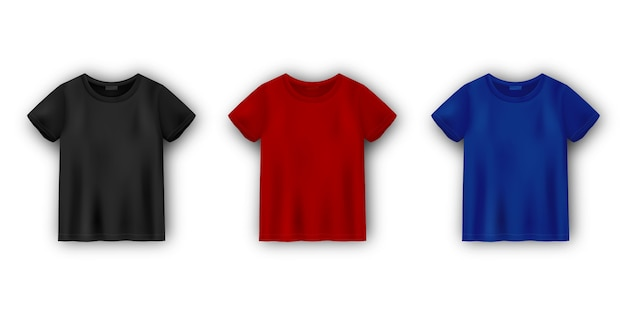 Set of men's t-shirt mockup isolated on white background. unisex tee template.