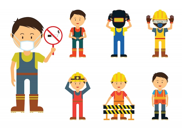 Set of men showing to use protection in the industry area for safety,