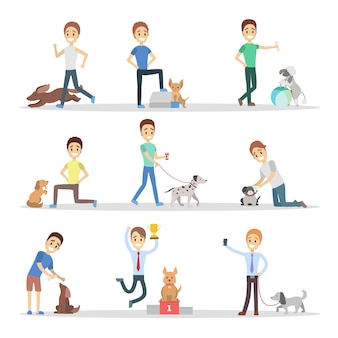 Set of men walking, playing and training their cute dogs. boys taking care of the pets. dog owners.    illustration