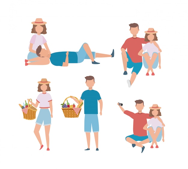 Set of men and women couple with hamper food