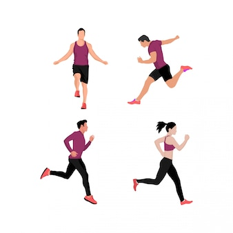 Set of men and women doing sport