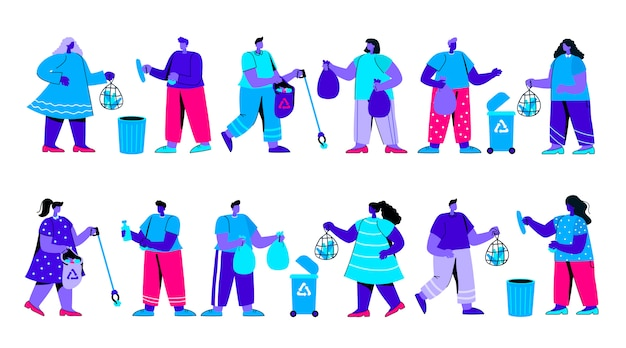 Set of men and women or ecologists picking up flat blue people character