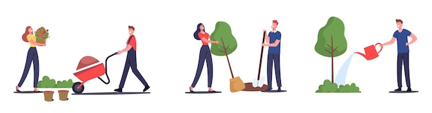 Set of men and women farmers working in garden, care and watering plants, grow flowers, planting trees, remove soil on wheelbarrow. gardeners characters working at ranch. cartoon vector illustration