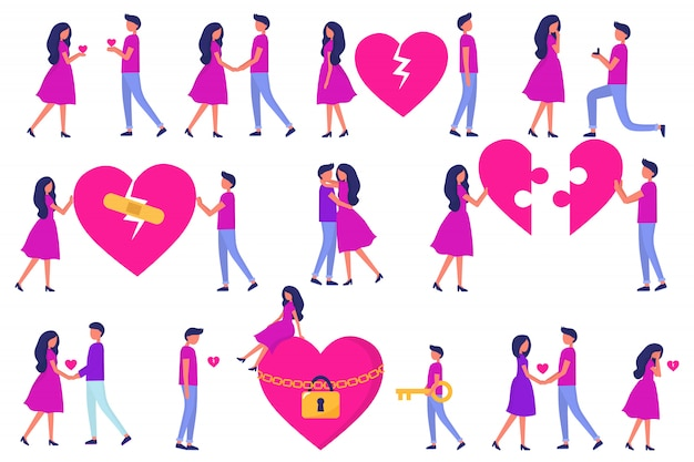 A set of men and women, love at first sight, a date, betrayal and quarrels and hugs, puzzle from the heart. development of a relationship. trendy vector flat people.