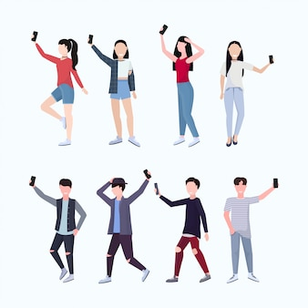 Set men women taking selfie photo on smartphone camera casual male female cartoon characters photographing in different poses white background  full length
