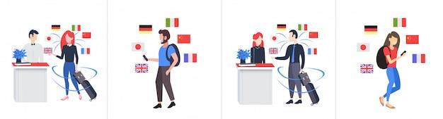 スマートフォンのモバイル辞書または翻訳者のコミュニケーションの人々の接続の概念を使用して男性女性観光客を設定します異なる言語のフラグ全長水平