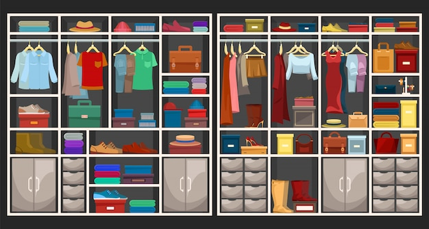 Set of men and women wardrobes