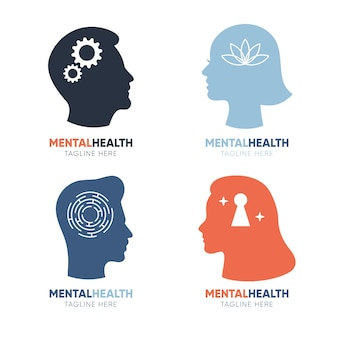 Set of mental health logo templates