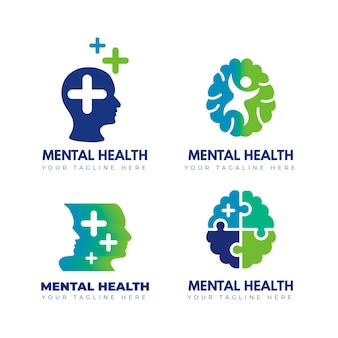 Set of mental health logo templates