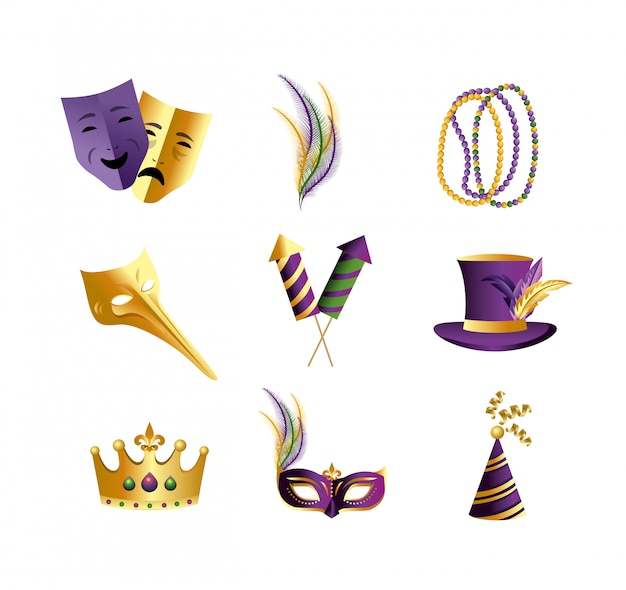 Set merdi gras decoration to celebrate event