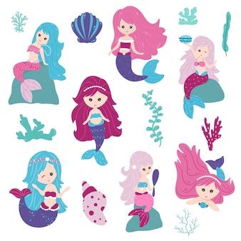 人魚を設定します。貝殻、藻類、珊瑚に囲まれた、女の子のためのカラフルな幻想的なキャラクター。フラットな漫画スタイルのベクトルイラスト。