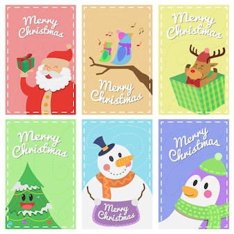Set of merry christmas banners characters