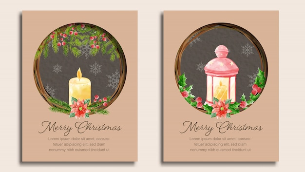 Set of merry christmas card template