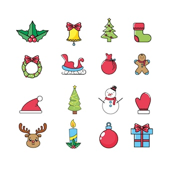 Set merry christmas celebration to holiday decoration