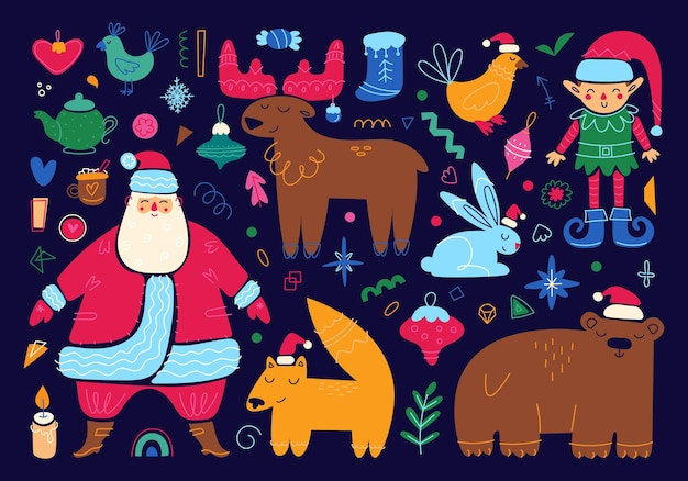 Set of merry christmas characters and elements new year holidays icons cute cartoon illustration