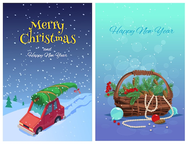 Set merry christmas greeting card