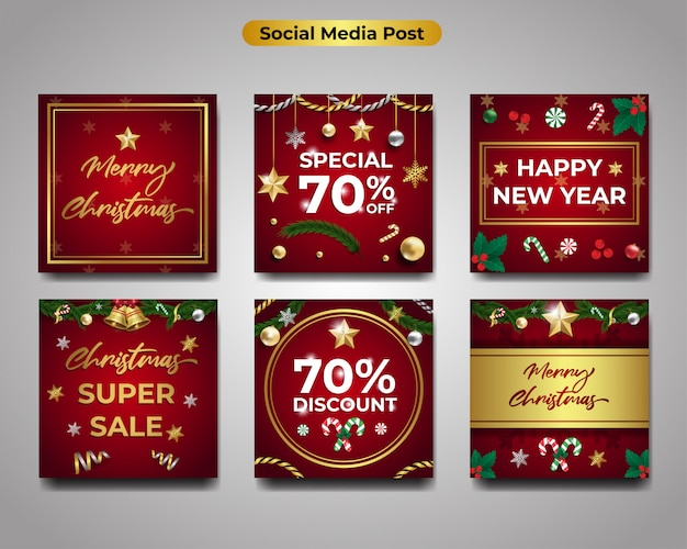 Set of merry christmas greeting cards, happy new year and seasonal banner sale discount
