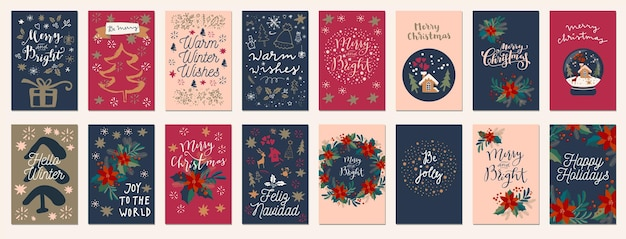 Set of merry christmas and happy holidays vintage hand drawn greeting cards, gift tags, postcards, posters. calligraphic typography artwork illustration