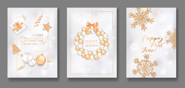 Set of merry christmas and happy new year 2021 greeting cards, elegant flyer, poster or banner design with xmas balls wreath, gifts, gold glitter, star, confetti and snowflakes. vector illustration