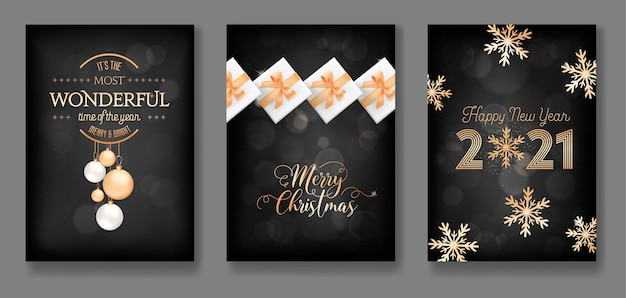 Set of merry christmas and happy new year 2021 greeting cards with gold xmas decoration, balls, gifts, glitter and snowflakes on black background, postcard or cover elegant design. vector illustration