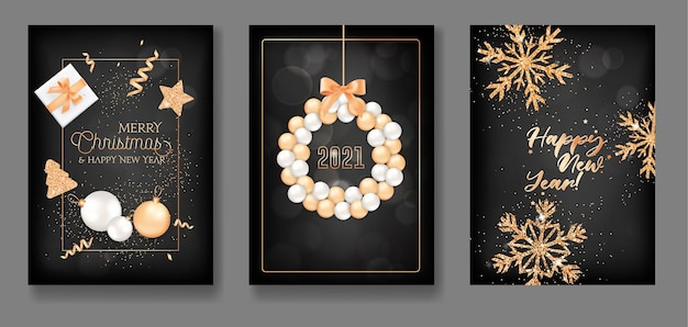 Set of merry christmas and happy new year 2021 greeting cards with xmas balls wreath, gifts, gold glitter, star, confetti and snowflakes for elegant flyer, poster or banner design. vector illustration