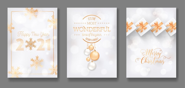 Set of merry christmas and happy new year 2021 postcard or cover elegant design. greeting cards with gold xmas decoration, balls, gifts, glitter and snowflakes on white background. vector illustration