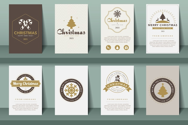 Set of   merry christmas and happy new year  brochures in vintage style .