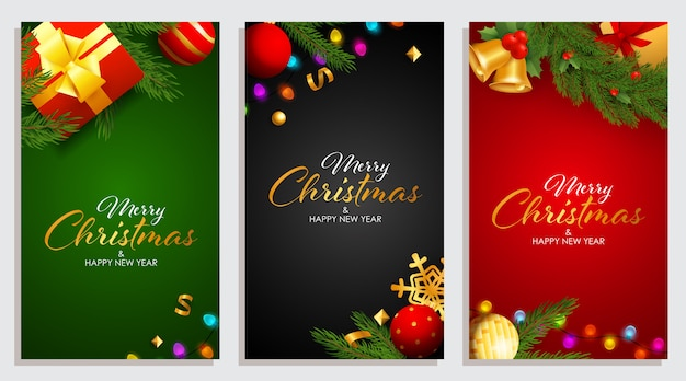 Set of merry christmas and happy new year design with garland