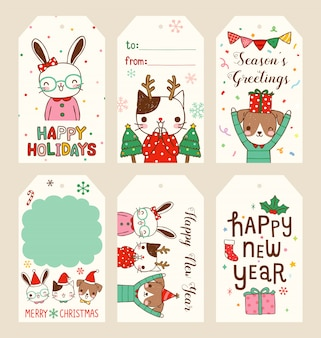 Set of merry christmas and happy new year gift tags in flat style
