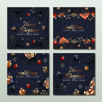 Set of merry christmas and happy new year greeting card illustration