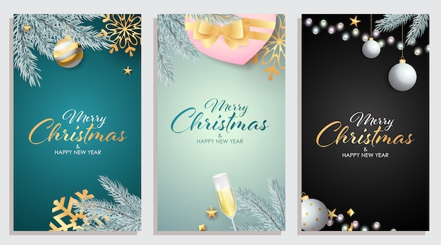 Set of merry christmas and happy new year greeting card