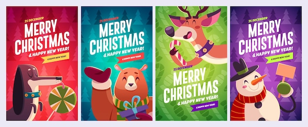 Set of merry christmas and happy new year greeting cards design with christmas characters vector