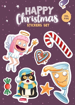 Set of merry christmas and happy new year stickers or magnets. festive souvenirs. vector illustration