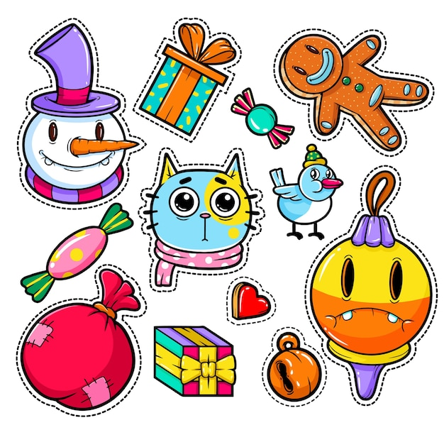 Set of merry christmas and happy new year stickers