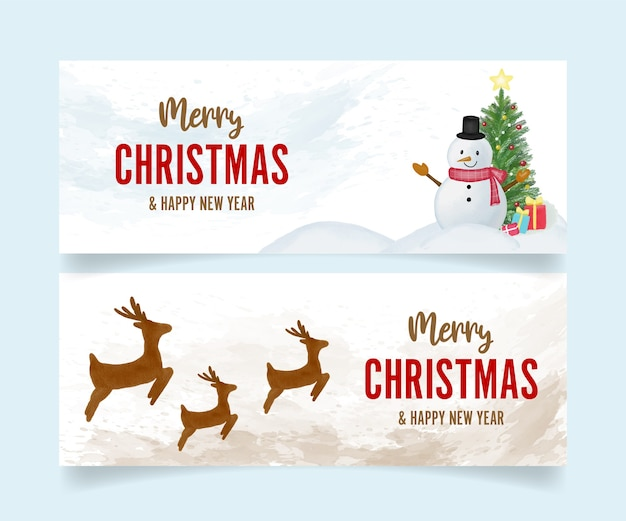 Set of merry christmas and happy new year watercolor banners