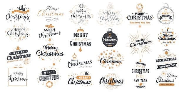 Set merry christmas. happy new year with typography design.