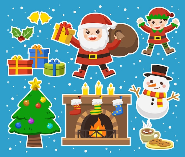 Set of merry christmas and happy new year.