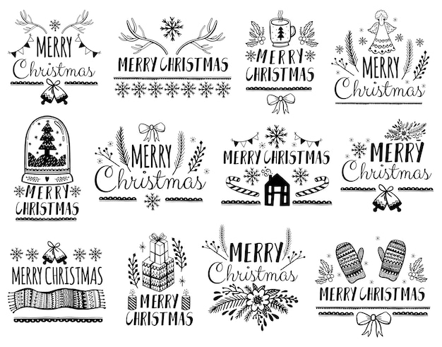 Set of merry christmas lettering for greeting cards
