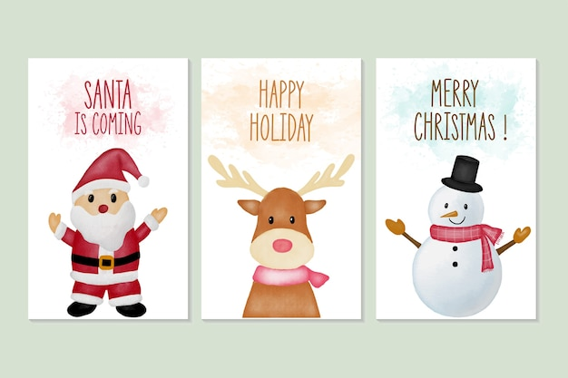 Set of merry christmas and new year greeting cards with watercolor illustration