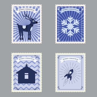 Set merry christmas retro postage stamps with rocket, deer and snowflakes