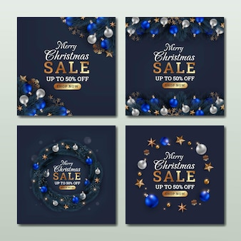 Set of merry christmas sale social media template design