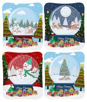 Set of merry christmas scene with santa claus in snow