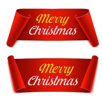 Set merry christmas scroll paper banners. red paper ribbon on white background. realistic label. isolated vector illustration