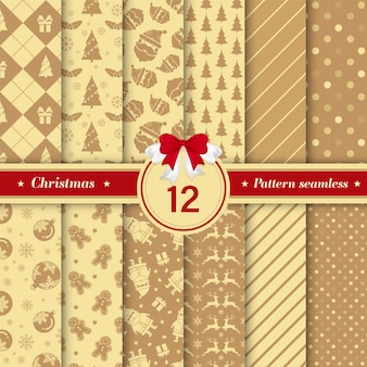 Set of merry christmas seamless pattern in golden color