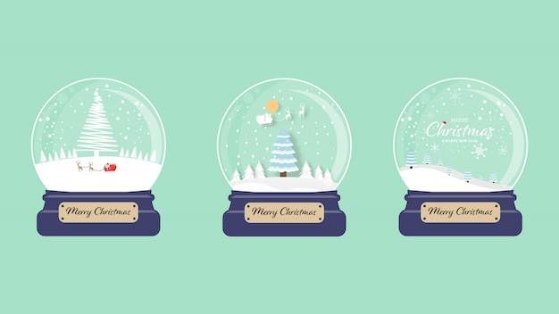 Set of merry christmas snow globe collection green  .   illustration.