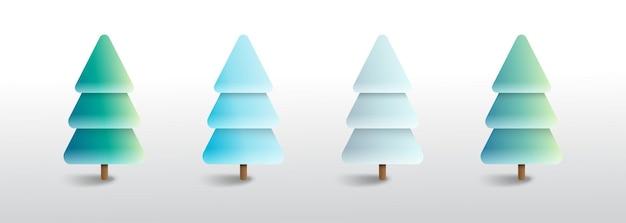 Set merry christmas tree illustration