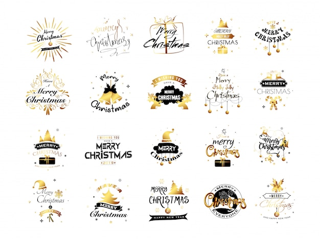 Set of merry christmas typography.