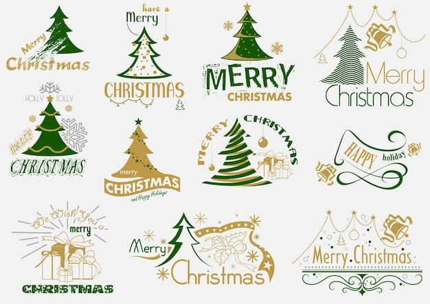 Set of merry christmas typography
