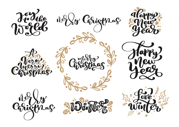 Set of merry christmas vintage calligraphy lettering text